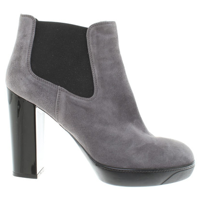 Hogan Gray suede ankle boots