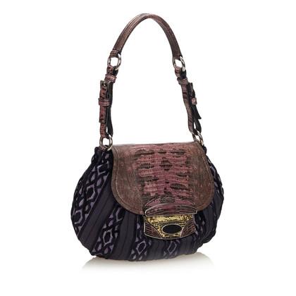 Prada Python Leather Trimmed Flap Bag