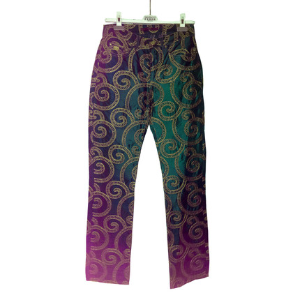 Ferre Silk trousers with gold embroidery
