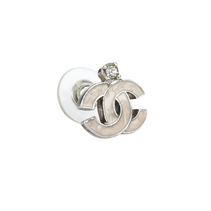 Chanel Silver colored earrings with logo