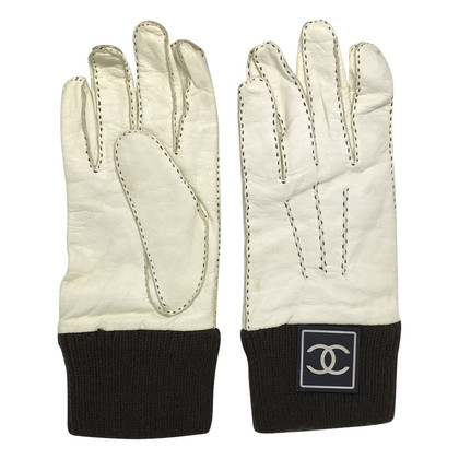 Chanel Leather / cashmere gloves