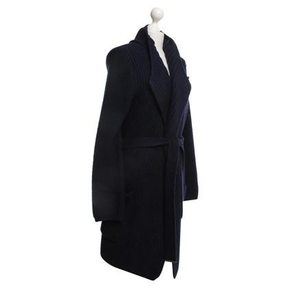René Lezard Knitted coat in dark blue