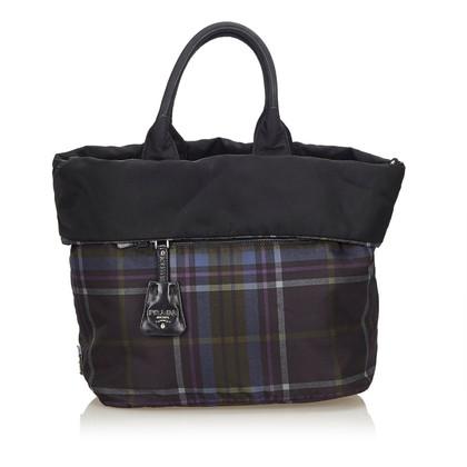 Prada Reversible Plaid Nylon Tote Bag