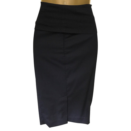 Brunello Cucinelli Navy Zip Pencil Skirt