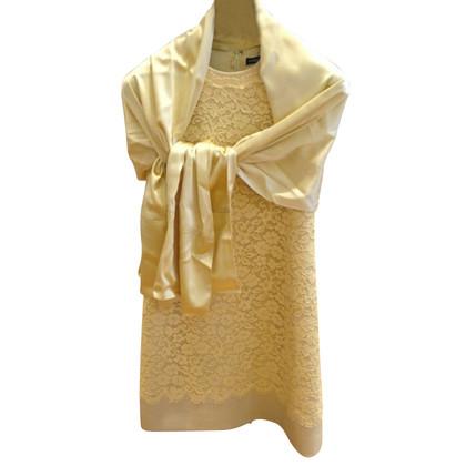 Dolce & Gabbana yellow lace dress with silk stole