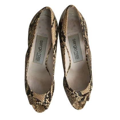Sergio Rossi Python leather peep toes