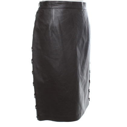 Valentino Leather skirt in dark brown