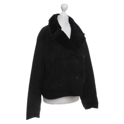 Chanel giacca di pelle scamosciata in nero