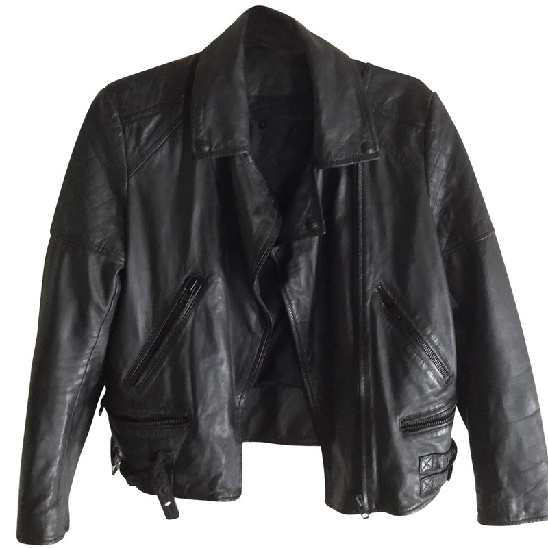 Schwarz Second aus Kooples in Hand JackeMantel Leder The 0w8nvmN