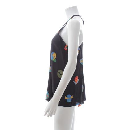 Stella McCartney Top en soie avec motif imprimé