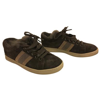 Brunello Cucinelli Sneakers originali in grigio con pelliccia