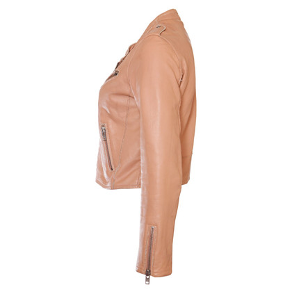 Maje Leather jacket in nude