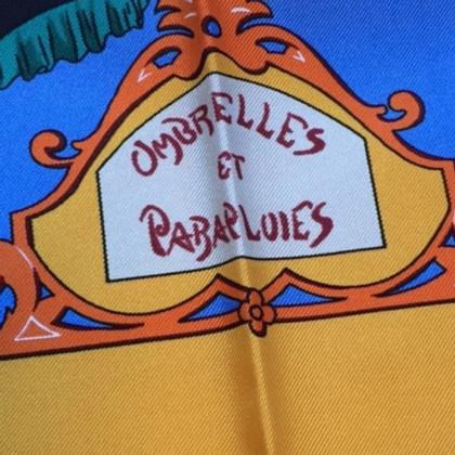 """Hermès Foulard """"parasols et parapluies"""" bleu"""