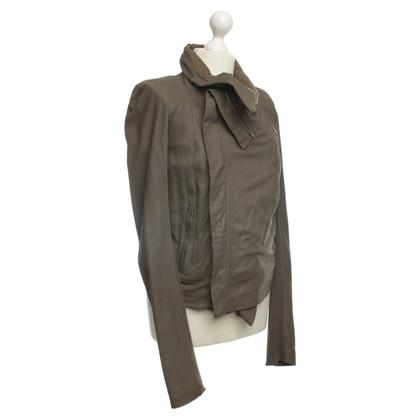 Rick Owens Leren jas met waterval kraag