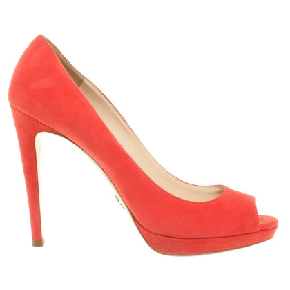 Prada Suede pumps in coral red