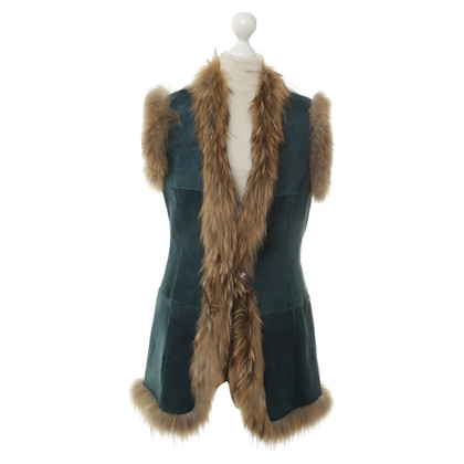 Other Designer Queen for a day - fur vest in teal