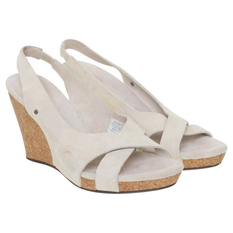 ugg australia beige wedge heel sandals buy second