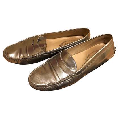 Tod's Silver colored moccasins