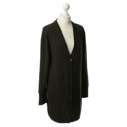 Allude Long cashmere jacket in Brown