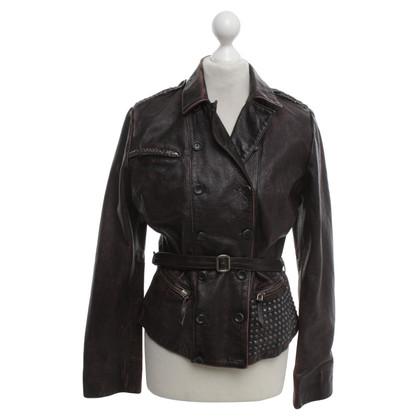 Golden Goose Leather jacket in Bordeaux