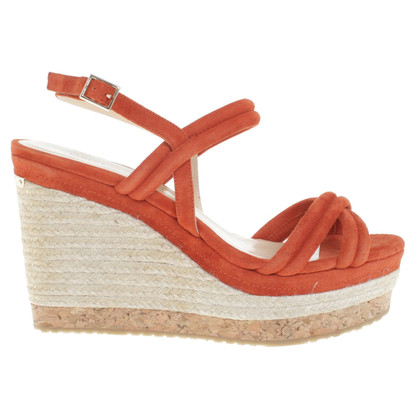 Jimmy Choo Orangefarbene Wedges