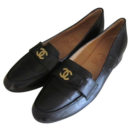 Chanel Black vintage Chanel loafer Moccasin.