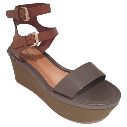 Chloé Two-Tone lederen Wedges