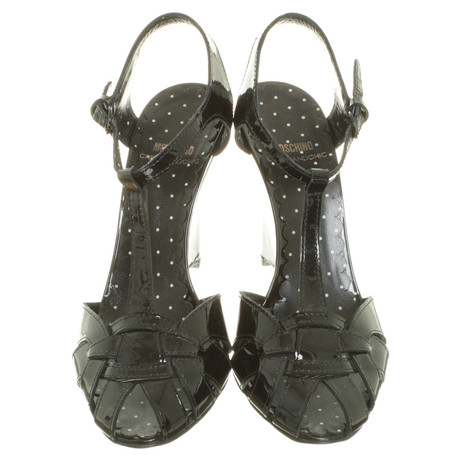 Chic Moschino Moschino Lackleder Schwarz aus Cheap Wedges and Cheap xSI5fnq4f