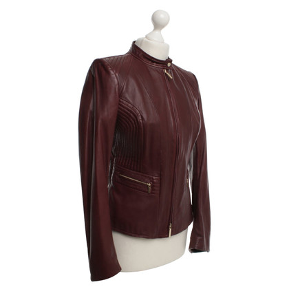 Hugo Boss giacca in pelle color bordeaux