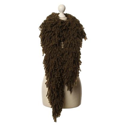 Marc Cain Fringe sjaal in olijfgroen