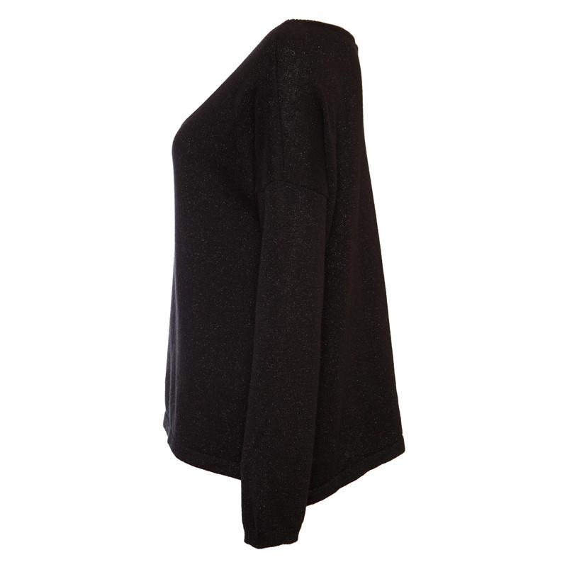 Andere Marke Schwarzer Pullover mit Lurex Second Hand
