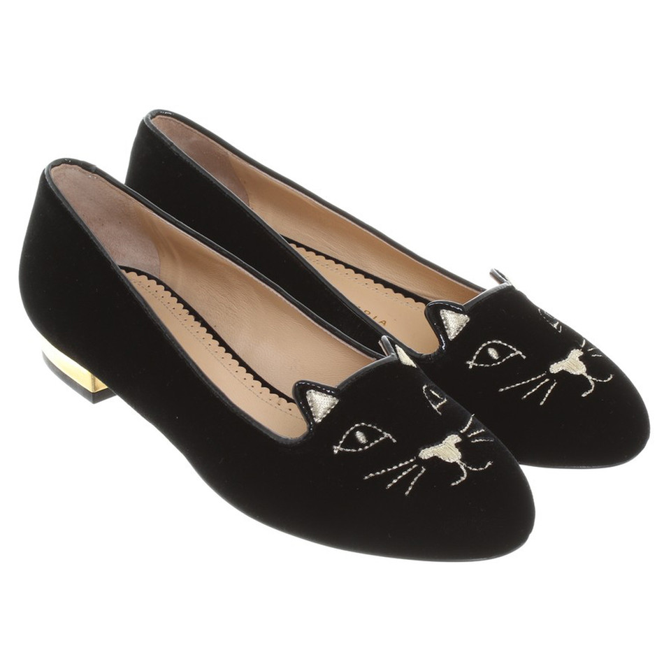 Charlotte Olympia Ballerinas with cat motif