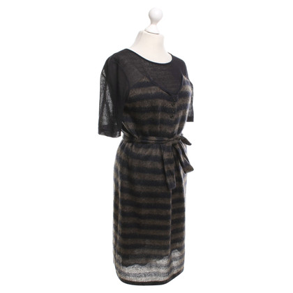 Marc Cain Knit dress in dark blue / brown