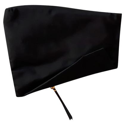Diane von Furstenberg Satin foldover clutch in nero
