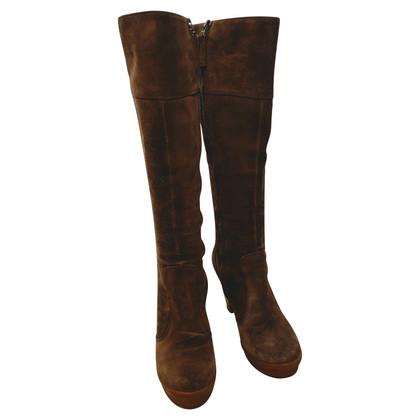 Fendi stivali piattaforma della pelle scamosciata