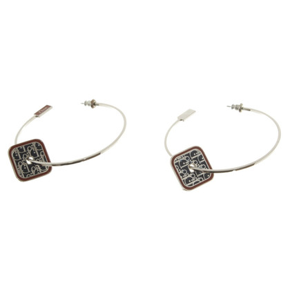 Christian Dior Silver plated hoop earrings