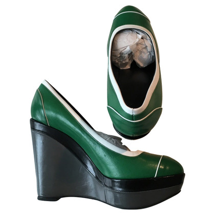 Escada Green Wedges 100% Goat Leather