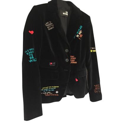Moschino Graffiti Velvet Blazer