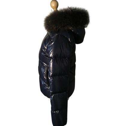 Duvetica Beneden jas donkerblauw met bont