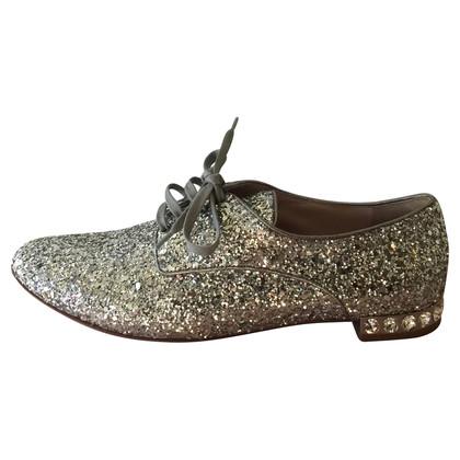Miu Miu Lace-up shoes with Rhinestone trim