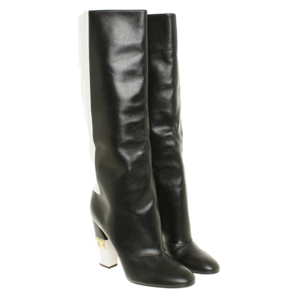 Casadei Leather boots in black and white
