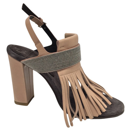 Brunello Cucinelli Leather fringed sandals