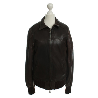 Giorgio Brato Leather jacket with real fur lining