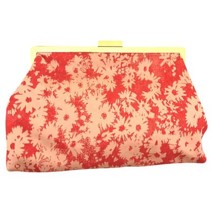 Stella McCartney Florale Jacquard Clutch in Coral
