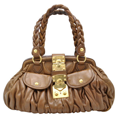 Miu Miu Handbag Leather in Brown - Second Hand Miu Miu Handbag ... a32c65e7b557a