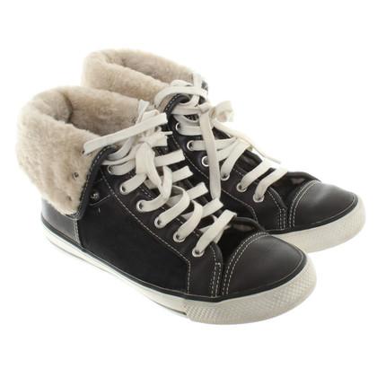 Tory Burch scarpe da ginnastica invernali con rifiniture in pelliccia
