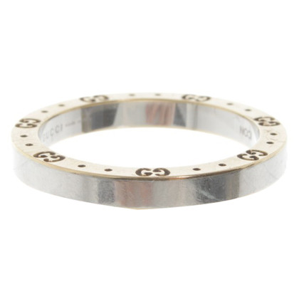 Gucci Stainless steel ring with gold elements