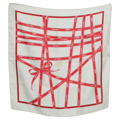 Hermès Silk scarf in white/red