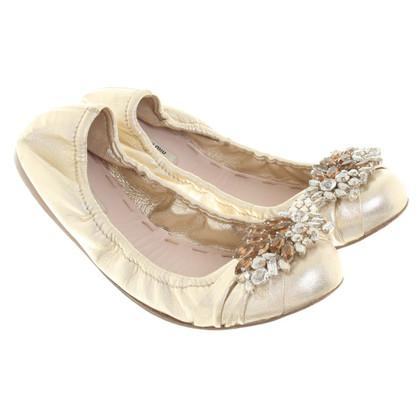 Miu Miu Goldfarbene Ballerinas