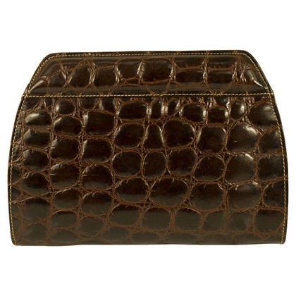 Ferre Croco Brown Leather clutch Bag